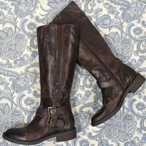 Enzo Angiolini Brown Distressed Leather Boots 9.5
